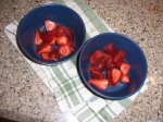 strawberries in bowls